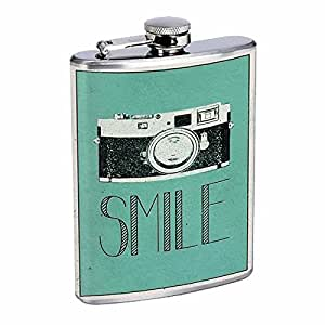 Perfection In Style Stainless Steel Flask 8oz Vintage Poster D-001 Smile Retro Camera Art
