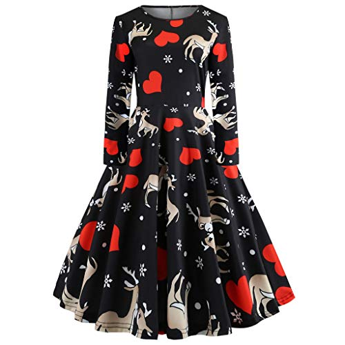 Clearance Women's Christmas Santa Claus Print Pullover Flared A Line Dress ()