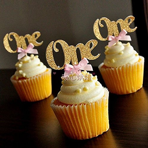 Astra Gourmet 24PCS Glitter Gold One Cupcake Topper Pink Bow 1st Birthday Party Anniversary Decoration