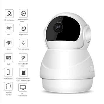MIMI KING Cámara De Seguridad Inalámbrica, HD 1080P WiFi Cámara IP con Audio De 2