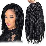 Dingxiu (6 Packs,12 inch) Havana Mambo Twist Crochet Hair Braids Senegalese Twist Crochet Braiding Hair (12', 1B)