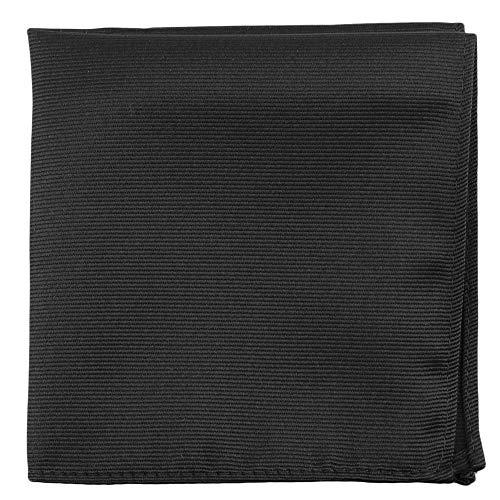 Black Pocket Squares For Men - Mens Woven Pocket Square Tuxedo Wedding Solid Color Formal Handkerchiefs