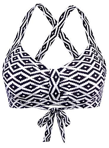 Balasami Women's Retro Button Down Gingham Printed Ajustable Straps Cross Back Vintage Swimsuit Top (XL(US14), Aztec White)
