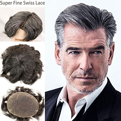 Rossy&Nancy Swiss Full Lace Men's Toupee 1B Black Color Real Human Hair Mixed 20% Grey Synthetic Hair Replacement for Men Hairpiece ()