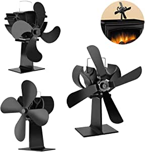 Ventilador De Estufa 4 Aspas, Ventilador De Horno De Aspa De Ventilador De Chimenea 2018 para Quemador De Leña/Leña / Chimenea Distribución De Calor Eficiente Y Respetuosa con El Medio Ambiente,Black: Amazon.es:
