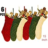 6 PCS 15\'\' Knit Christmas Stockings woven Stockings Christmas Decorations White/Red/Green