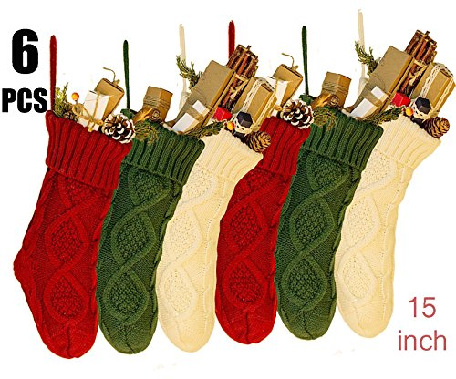 NIGHT-GRING 6 PCS 15'' Knit Christmas Stockings Woven Stockings Christmas Decorations White/Red/Green -