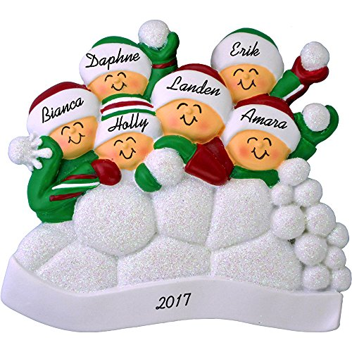 Christmas Ornament Snowball (Snowball Fight Personalized Christmas Ornament (6 People) - Family Fun in the Snow - Handpainted Resin - 4