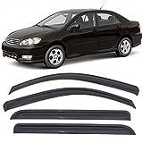 Automotive : Window Visors Fits 2003-2008 Toyota Corolla | Dark Smoke Car Rain Sun Window Shade Guard Wind Deflector Smoke by IKON MOTORSPORTS| 2004 2005 2006 2007