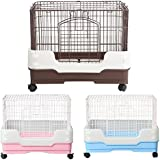 Homey Pet-3 or 1 Tiers Chinchilla Ferret Rabbit Small Animals Crate with Pull Out Tray, Urine Guard and Casters in Pink/Blue/Brown