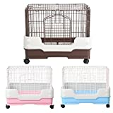 Homey Pet Rabbit Chinchilla Hamster Rat Ferret Cage with Pull out tray, Urine Guard and Lockable Casters, Pink, L26''x W18''x H21''