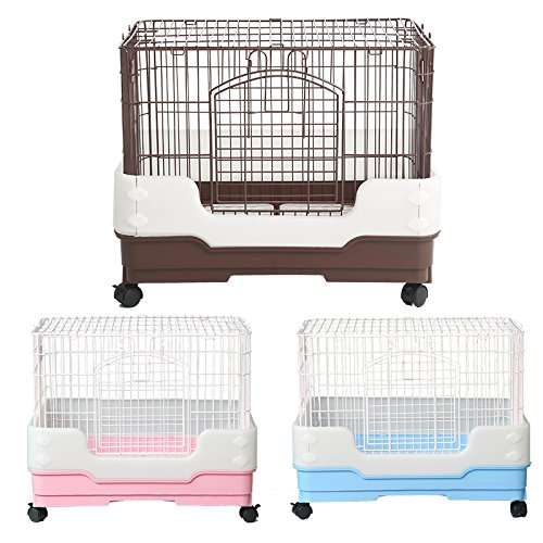 Homey Pet Rabbit Chinchilla Hamster Rat Ferret Cage with Pull Out Tray, Urine Guard and Lockable Casters, Blue, L26 x W18 x H21