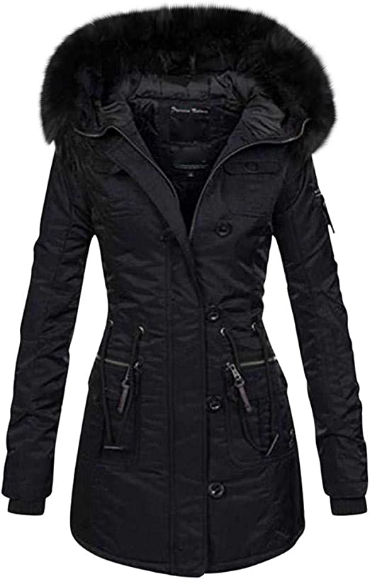 Briskorry Womens Coat Casual Winter Thicken Coats Long Sleeve Warm Jacket Slim Fit Hooded Outwear with Pocket