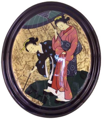 Oriental Oval Lacquered Painting Wall Art Plaque (Japanese (Lacquered Painting Wall Art Plaques)