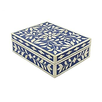 LAKECITY HANDICRAFTS Navy Blue Bone Inlay Decorative Box for storage