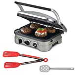 cuisinart silicone spatula - Cuisinart GR-4N Griddler Stainless Steel 5-in-1 Grill/Griddle & Panini Press + Silicone Spatula + 8-inch Nylon Flipper Tongs