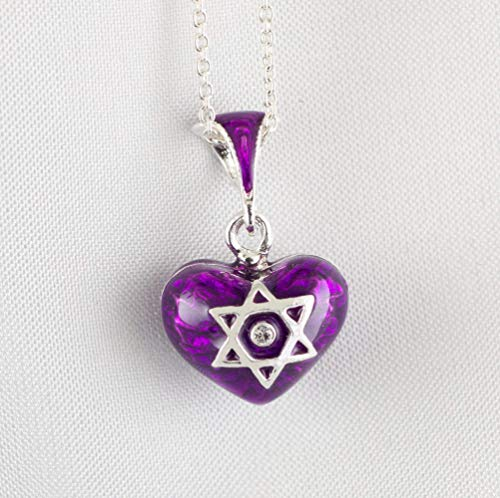 Star of David and Chai Judaica Pendant Bat-Mitzvah Gift, Sterling Silver Purple Enameled Heart w Magen David, Small Heart Pendant with Jewish Star, Jewish Pendant for Girl/Woman