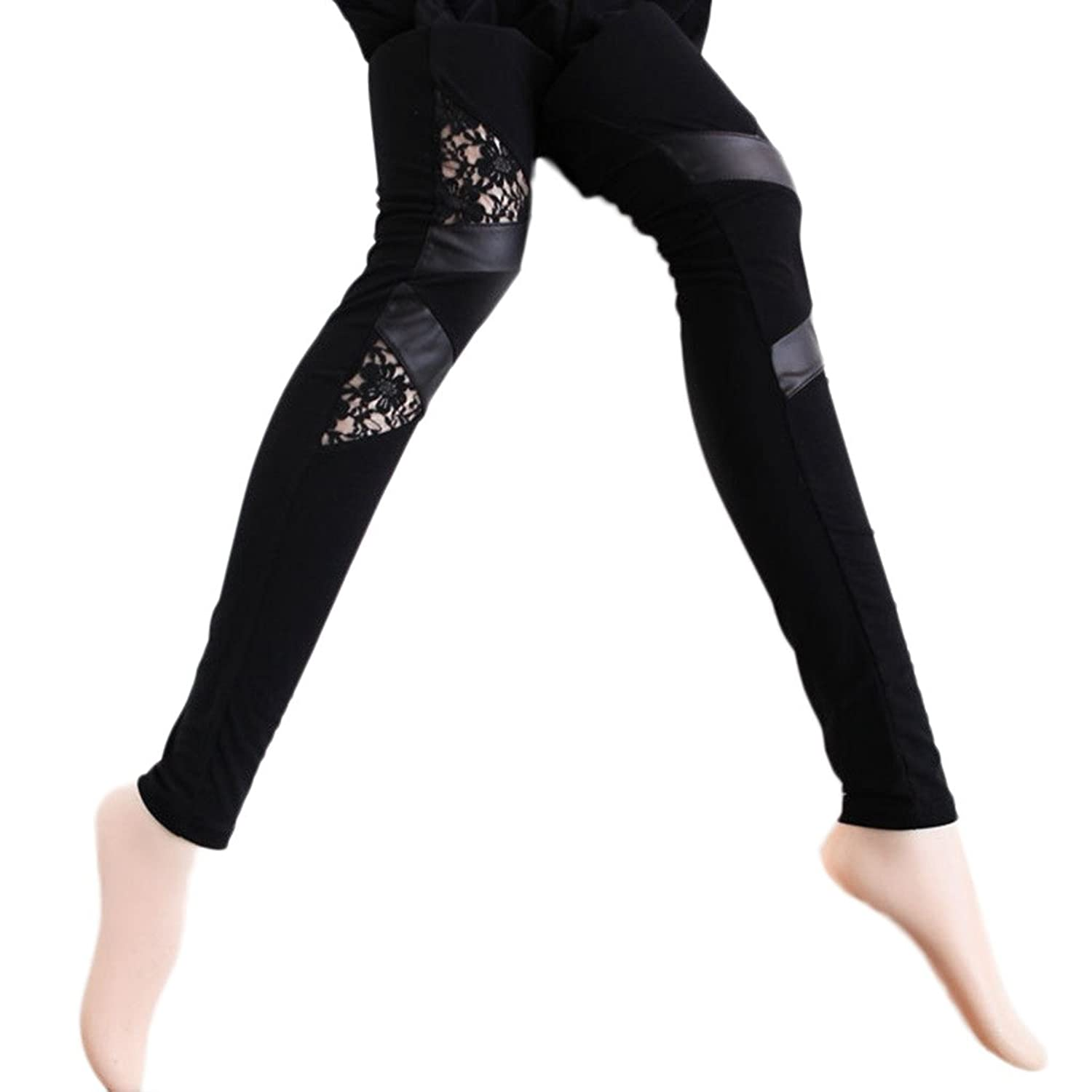 Frauen Fashion Jeggings Bodycon PU Lace Hose One Size Schwarz