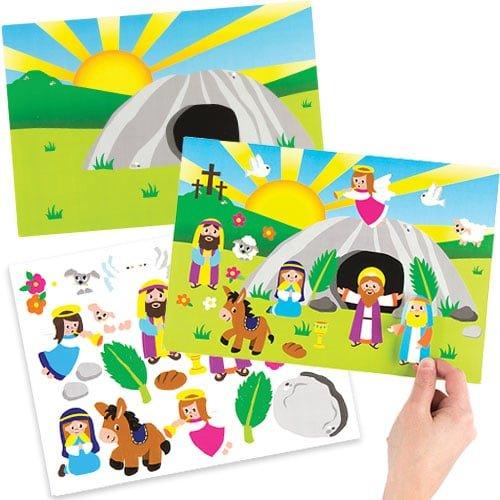 perfectos para manualidades y decoraciones infantiles de Pascua Baker Ross Kits de escenas para adhesivos de Semana Santa pack de 4
