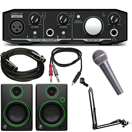 Mackie Onyx Artist 1-2 2x2 USB Audio Interface Bundle w/Mackie CR3 Speaker Pair, XLR Cable, TRS Cable, Behringer XM8500 Dynamic Microphone and Microphone Suspension with Boom Scissor Arm Stand