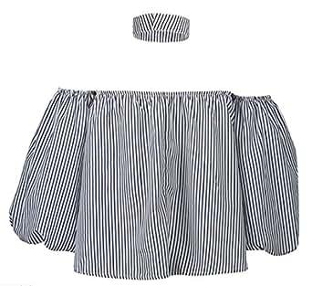 88f0355a9c5083 M S W Women s New Striped Choker Tie Off The Shoulder Tie Cuff Blouse Top  Navy Blue XXS