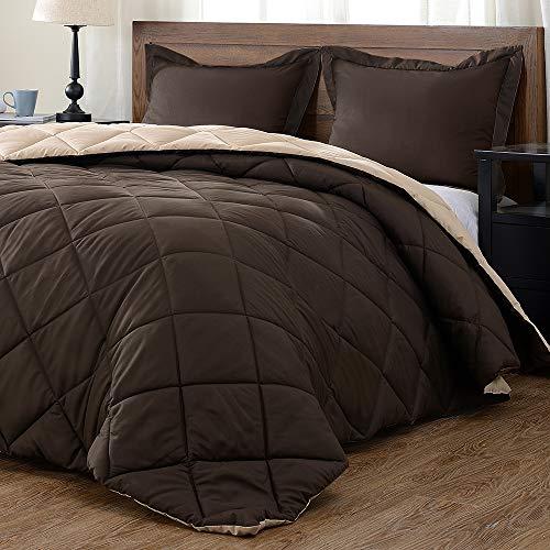 downluxe Lightweight Solid Comforter Set (Queen) with 2 Pillow Shams - 3-Piece Set - Brown and Tan - Down Alternative Reversible Comforter (Set Bedding Tan)