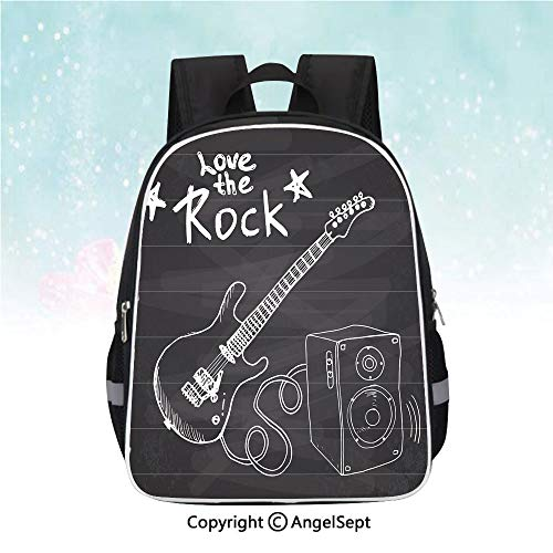(Schoolbag for Kids,Love The Rock Music Themed Sketch Art Sound Box and Text on Chalkboard Print Decorative,13