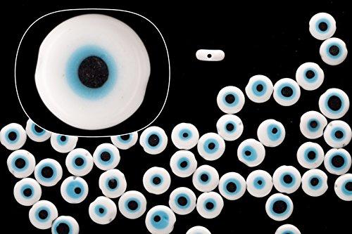 Glass beads, white base evil eye amulet design, 8mm round plate. sold per 36cm string -