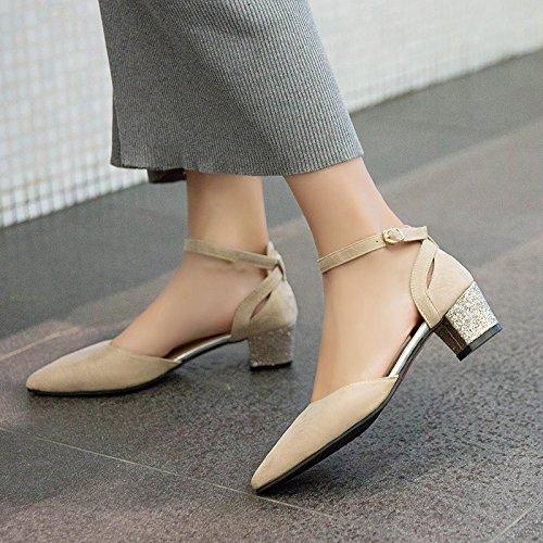 Qiqi Xue Hollow parola scarpe beige tacchi femminile 39 punta con Single a con una alti bocca scarpe tacco fibbia Shallow 1drqwZnd