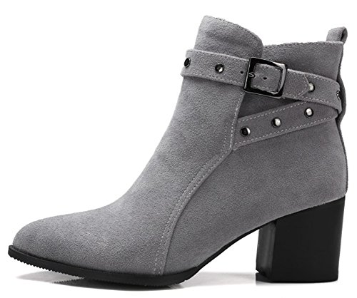 IDIFU Women's Vintage Studded Buckled Faux Suede Mid Block Heels Short Ankle Boots
