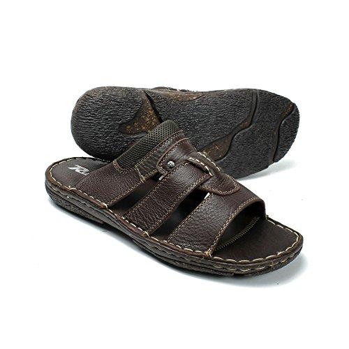 Labo Mens Sandali In Vera Pelle Scarpe Ultra Comfort Soft Wide Brown3