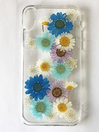 iPhone X case, TPU Case, Handmade Daisy Floral Real Pressed Dried Flowers TPU Gel Clear Rubber Skin Silicone Protective Plastic Soft Back Phone Case Cover By Shopping_Shop2000 (Halloween X Reader)