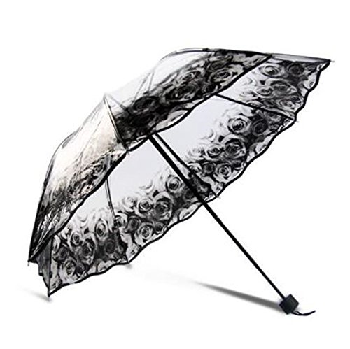Dearlly golf-umbrellas Women Umbrella Rain Brand 3 Folding Romantic White Guarda-Chuva Paraguas Baratos Transparent Paraguas as pic7