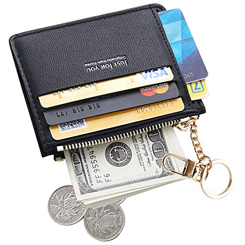 (Cyanb Slim Leather Credit Card Case Holder Front Pocket Wallet Change Purse for Women Girls with keychain Black )