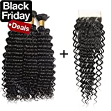 Beaufox Brazilian Hair Deep Wave 3 Bundles With Closure Human Hair Extensions Virght Hair Natural Color Can Be Dyed and Bleached (18 20 22 + 16, Natural Color)