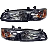 Toyota Camry 97 98 99 Black Head Light Corner Lamp W Bulb Pair 81110 81150 Aa010