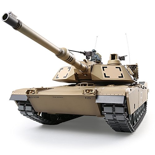 Heng Long Pro Edition RC Tank 1:16 US Army M1A2 Abrams Main Battle Tank, Remote Control 2.4Ghz RC Tanks That Shoot Airsoft BBS, with Metal Gearbox Tracks ()