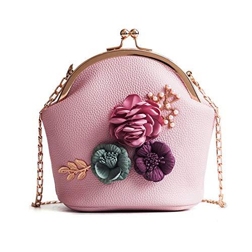 Shoulder Bag Beaded Leather (Freie Liebe Women Clutches Flower Evening Handbag Chain Strap Shoulder Bag)