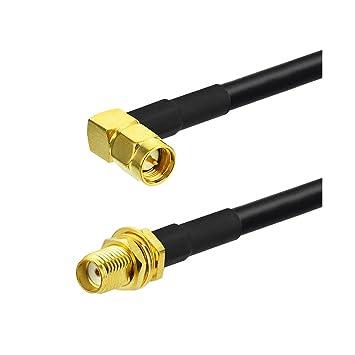 eightwood SMA Hembra Bulkhead a ángulo recto de macho SMA RF Cable de extensión RG58 50