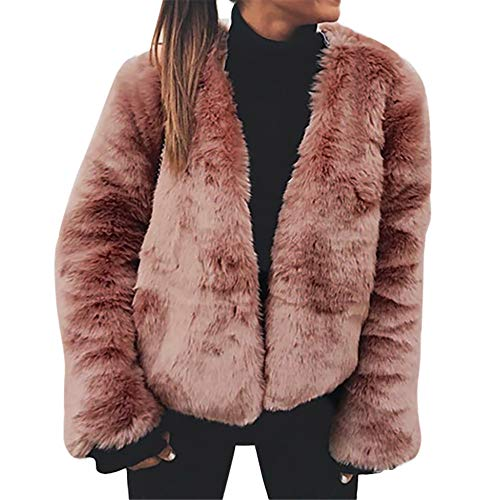 (Clearance Sale! Caopixx Women's Coat Casual Lapel Fleece Fuzzy Faux Shearling Zipper Warm Winter Outwear Jackets)