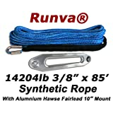 "Runva Winch Synthetic Rope 3/8"" x 85' 14204lb With Aluminum Hawse Fairlead (10"" Mount)"