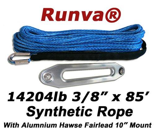 Runva Winch Synthetic Rope 3/8' x 85' 14204lb With Aluminum Hawse Fairlead (10' Mount)