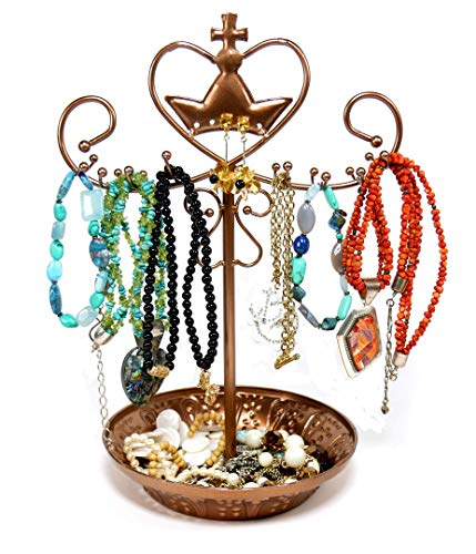 - K-Cliffs Rotating Necklace Bracelet Earring Jewelry Stand Organizer Tower Copper, 13 Inch