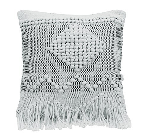 Bloomingville Square Textured Cotton Pillow, Ivory [並行輸入品] B07RCCY7BH