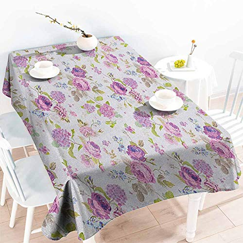 - familytaste Shabby Chic,Rectangular Table Cover English Roses and Violets Gardening Plants Inflorescence Twigs Spring Buds 60