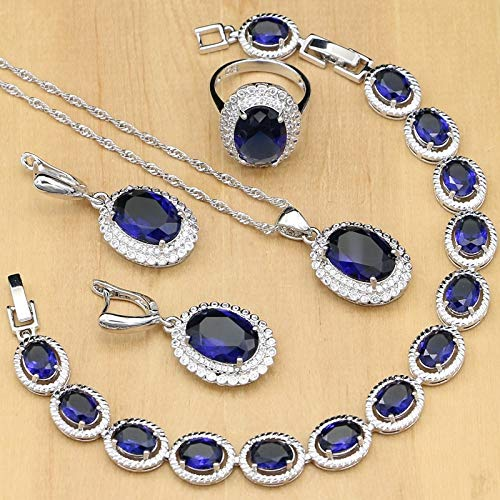 (Silver 925 Blue Jewelry Set | Natural Zircon White Crystal Jewelry for Women | Stones Earrings/Pendant/Rings/Bracelet/Necklace)