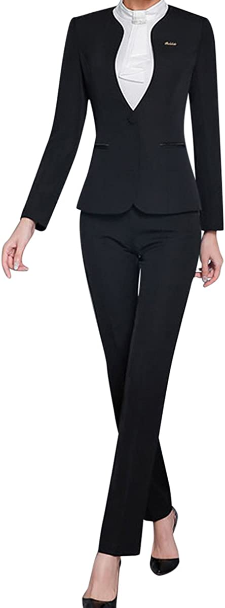 Women's 2 Piece Office Lady Suit Set Business Work Blazer Pants