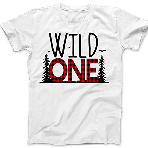 First Birthday Wild One Shirt - Wild One Buffalo Plaid 1st Birthday Shirt (18m Tshirt, White) (Buffalo Kids T-shirt)