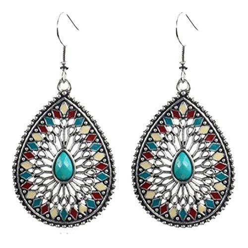 Women Bohemian National Wind Retro Rhinestone Ear Drop Earrings Jewelry Eardrop ()