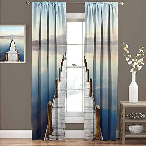 Seascape Soundproof Insulated Blackout Curtains Wooden Jetty to Lake with Distant Hills Seascape Tranquility Calm Scenery Drape for Party Decoration W120 x L85 Inch White Brown Blue